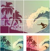 Surf composition of a surfer riding a huge wave, next to a palm-covered coastline.