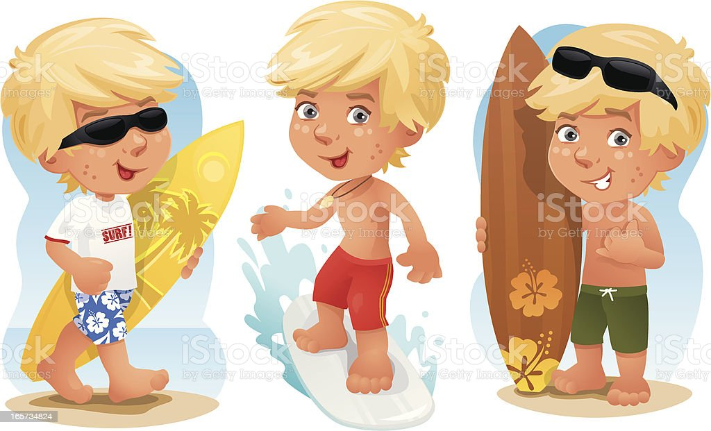 Cool Surfer Boy royalty-free stock vector art
