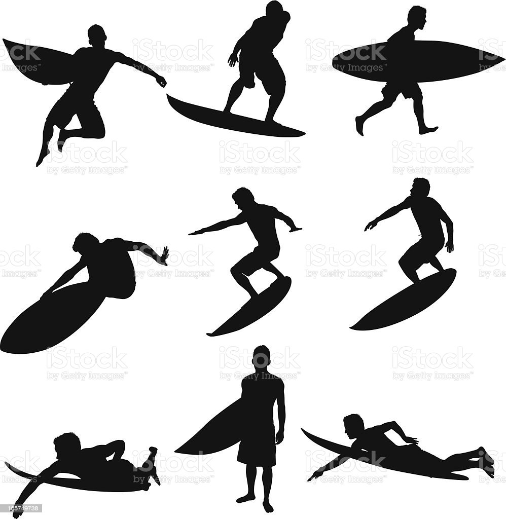 Cool surfer dude riding waves surfing royalty-free stock vector art