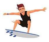 Cool surfer on the board
