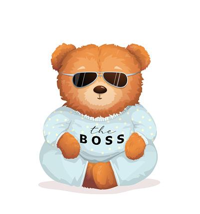 Cool Teddy Bear in Sunglasses Bossy Look Fun Print