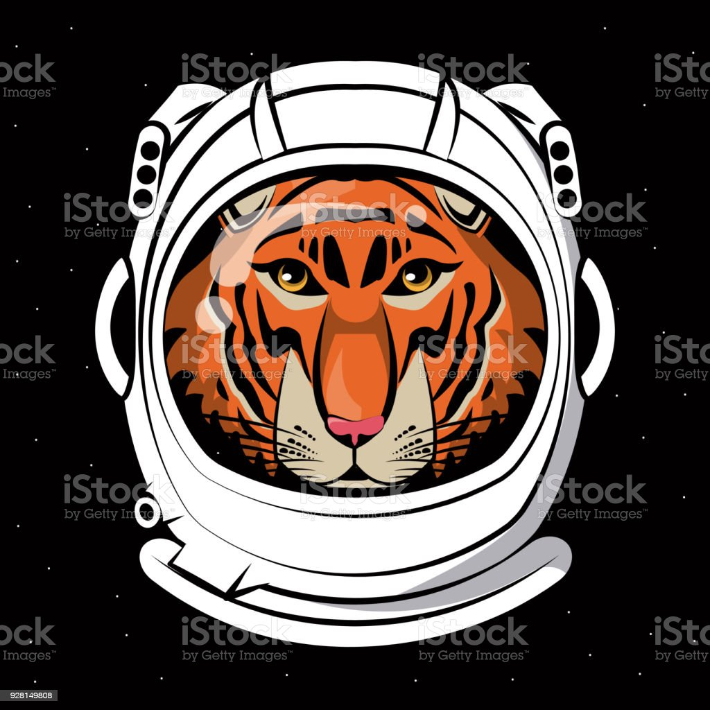 Cool Tiger On Astronaut Helmet Print For T Shirt Royalty Free