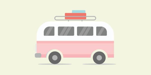 Cool tour minibus Bus, Truck, Van - Vehicle, Delivering, Delivery Van mini van stock illustrations