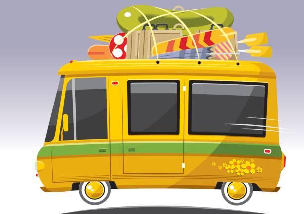 ilustrações, clipart, desenhos animados e ícones de microônibus de turismo legal - viagem de primeira classe