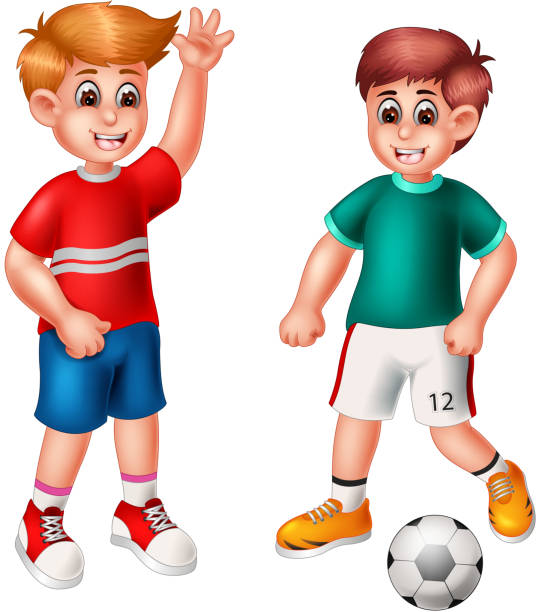 Two Football Boys Isolated Illustrations, Royalty-Free ... (542 x 612 Pixel)