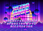 Fontes Cool Retro Wave Vecteurs libres de droits et plus d'images