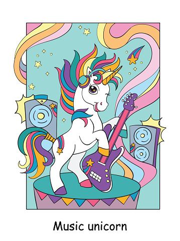 Cool unicorn with guitar colorful vector illustration