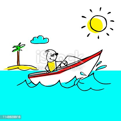 Cool vector illustration with a man on a boat spending good time on his vacation.