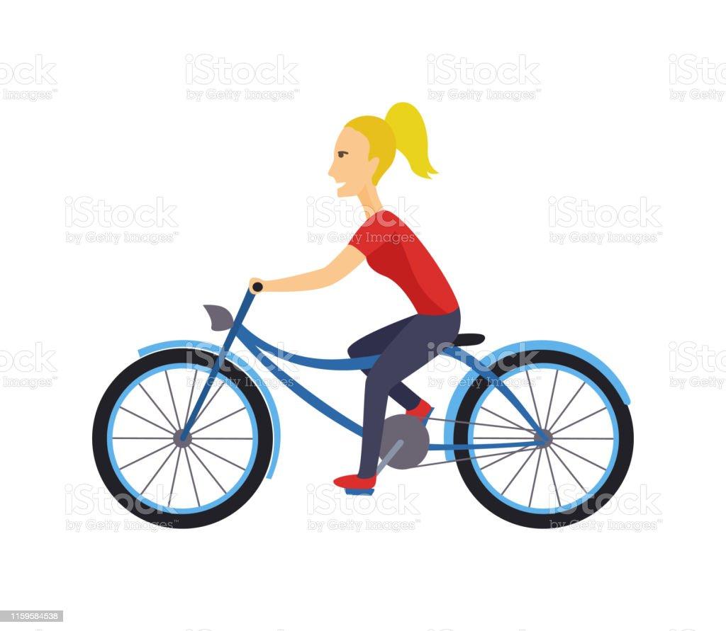 Coolvektor Charakter Design Auf Erwachsene Junge Frau Fahrrad Fahren