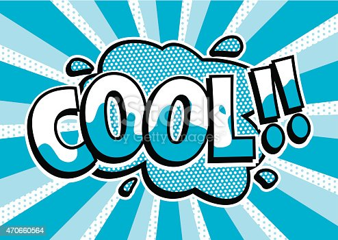 Comic strip style word 'Cool'. Retro pop art brightly colored text in blue and white. The text is on an splat background. Image is a vector so all elements are editable and infinitely scaleable with no loss of resolution.