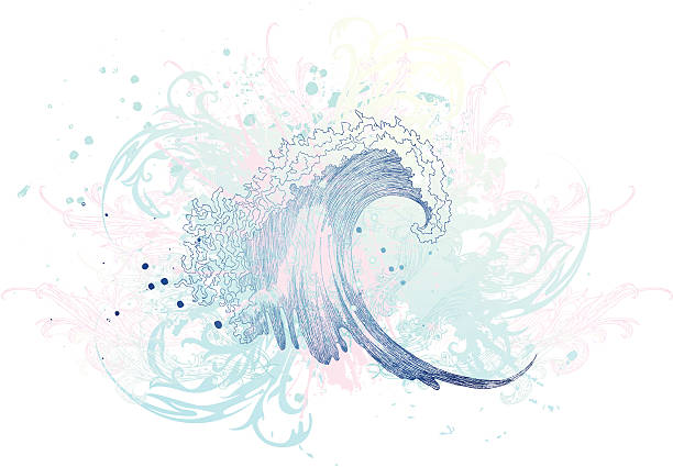 cool wave - tidal wave stock illustrations, clip art, cartoons, & icons