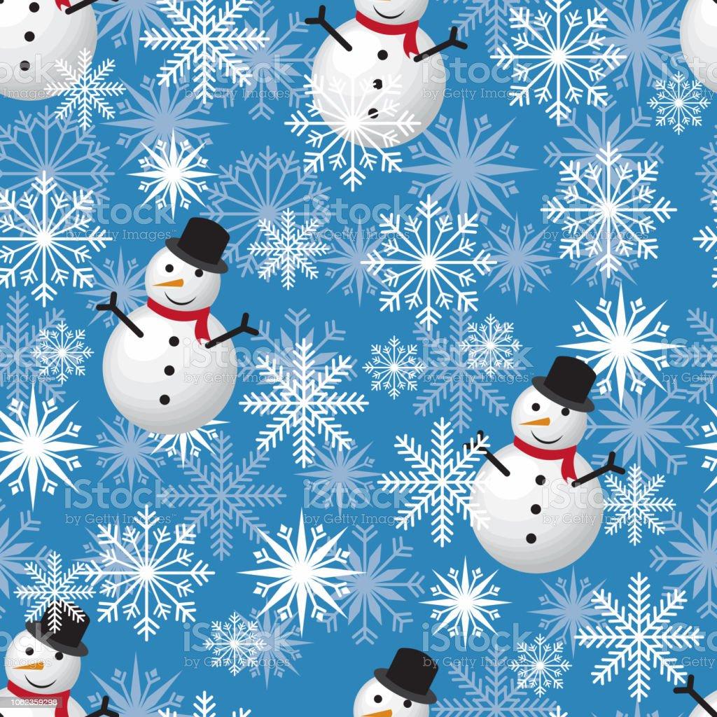 クールな冬の雪だるまのシームレスなパターン背景壁紙 お祝いの