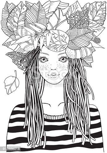 cool meisje in een gestreepte trui met herfst bladeren
