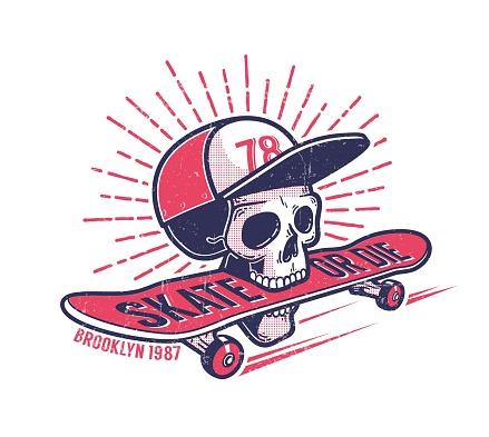 Cool youth skateboarding authentic retro street emblem
