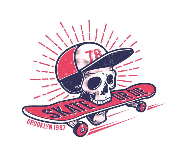 Cool youth skateboarding authentic retro street emblem Cool youth skateboarding authentic retro street emblem with skull in baseball cap and  skateboard. Grunge worn texture on separate layer. skate stock illustrations