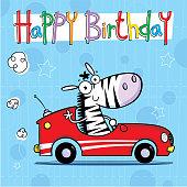 Cool zebra driving little car