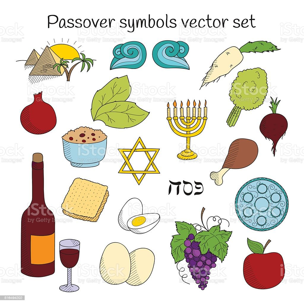 Coolection Of Doodle Symbols Of Jewish Holiday Passover Stock Vector