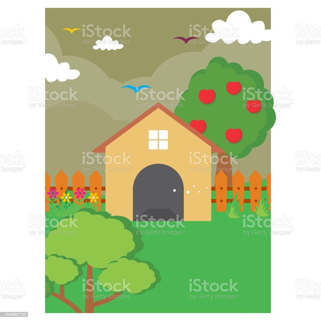 Coolste Und Niedlichen Cartoon Landschaft Von Vorne Oder Im Hinterhof Des  Hauses Mit Apfelbaum Lizenzfreies Coolste