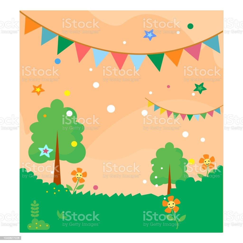 自然の緑の牧草地祭りの旗が付いている木のかわいいクールな漫画風景
