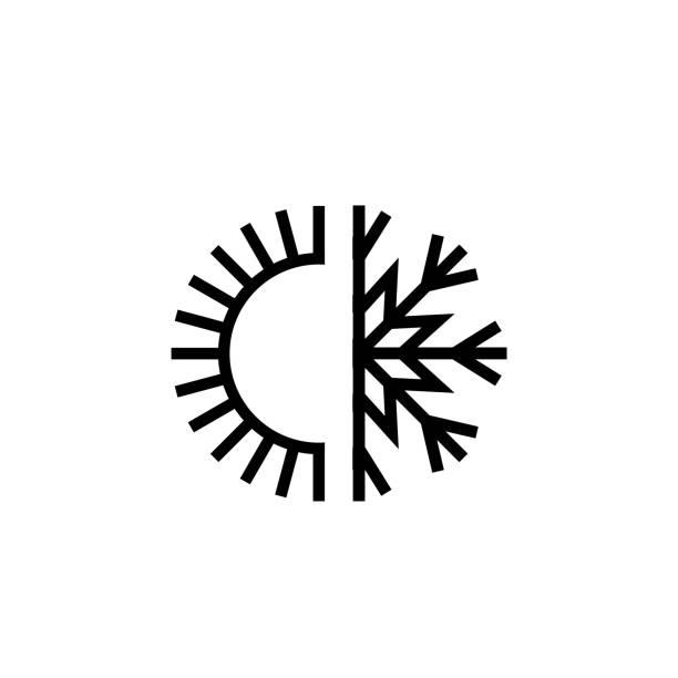 stockillustraties, clipart, cartoons en iconen met koeling en verwarming systemen pictogram - klimaat