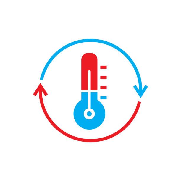 kühlung und heizung systeme logo - wärme stock-grafiken, -clipart, -cartoons und -symbole