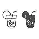 Cooling drink line and solid icon. Cocktail or juice with ice, citrus and straw . Birthday party vector design concept, outline style pictogram on white background, use for web and app. Eps 10