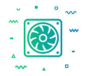 istock Cooling Fan Line Style Icon Design 1154839327