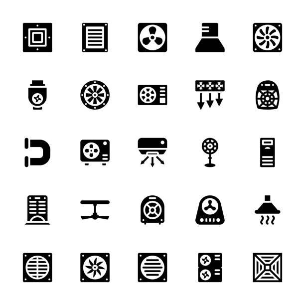 ilustrações de stock, clip art, desenhos animados e ícones de cooling fans glyph icons - com portada