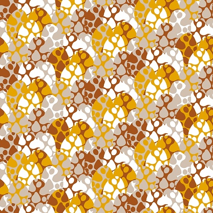 Cooper, goldenrod, greige, and white colors spotted eggs seamless pattern vector
