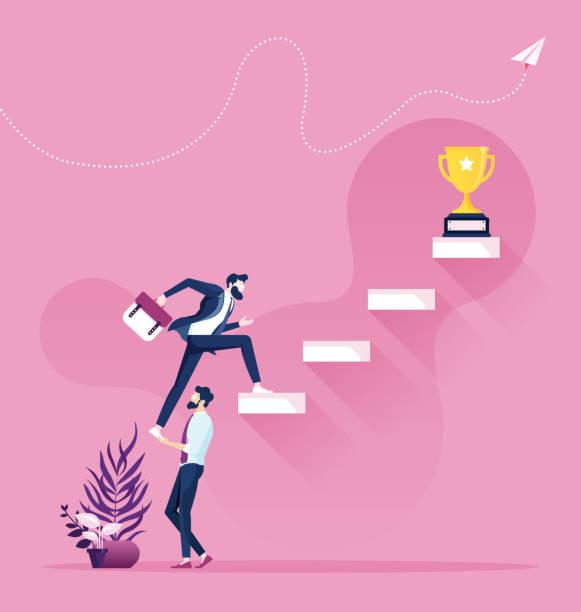 współpraca i praca zespołowa. biznesmen pomaga wspiąć się na schodach - umiejętność stock illustrations