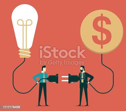 Businessmen carry power line
