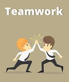 Cooperation happy,Businessman and coworkers doing high five.Business young cartoon happiness of success concept is man character.Businessman emotions moving of man person.Vector Illustration
