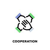istock Cooperation Line Icon 1068374596