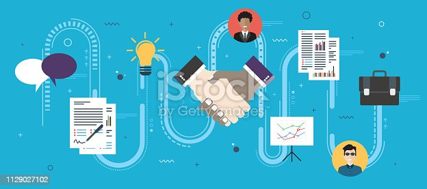 Cooperation strategy and handshake in contract agreement signature. Negotiation, teamwork and collaboration in business .Internet website banner concept with icons in flat design vector illustration.