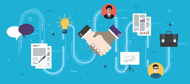 ilustraciones, imágenes clip art, dibujos animados e iconos de stock de estrategia de cooperación y enlace en la firma del acuerdo de contrato. - infografías de negocios