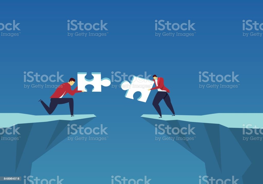 Cooperation through the dilemma vector art illustration