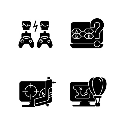 Cooperative games black glyph icons set on white space