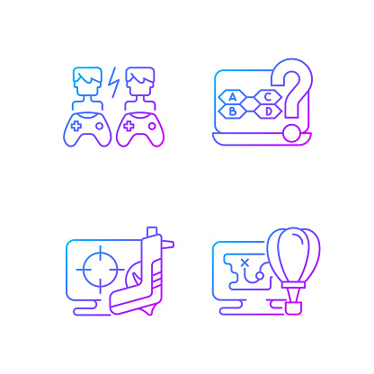 Cooperative games gradient linear vector icons set