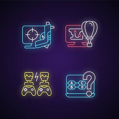 Cooperative games neon light icons set