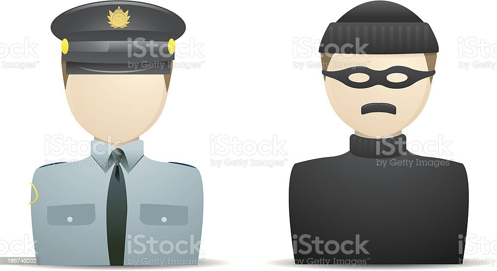 Cop and Robber vector art illustration