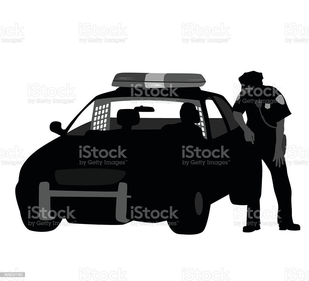 Cop Talking vector art illustration