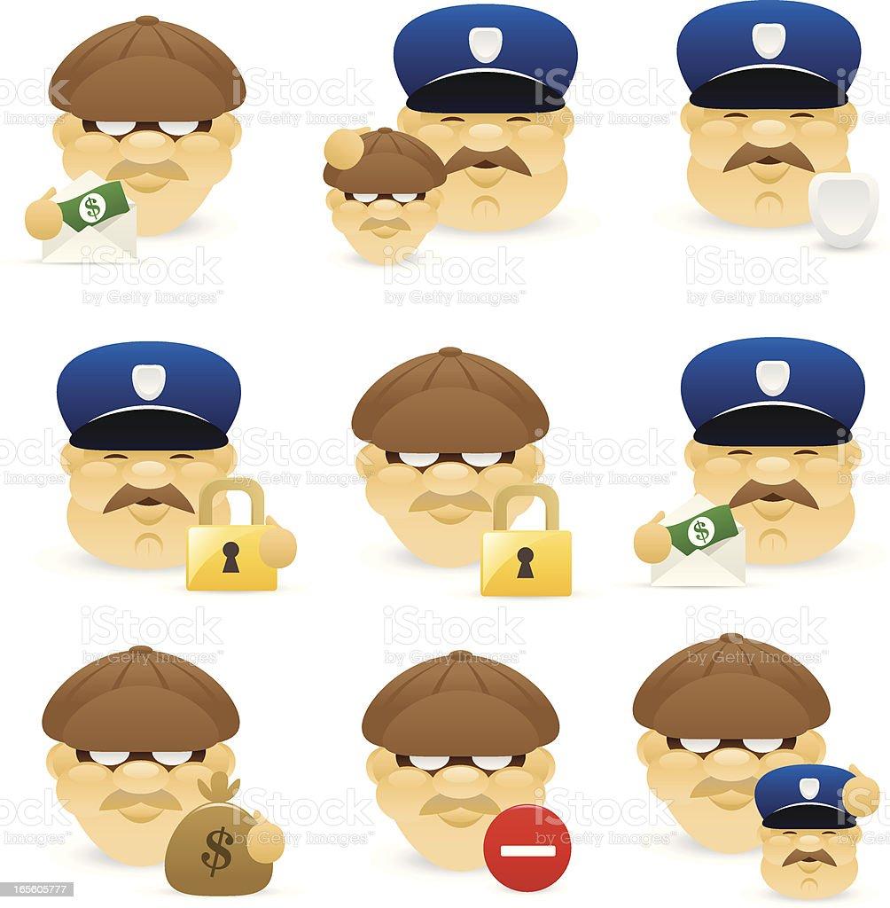 Cop vs Burglar icon royalty-free stock vector art