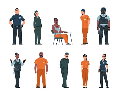 Cope and bandit. Police officers and arrested people in handcuffs. Convicted men or women wear orange uniform in jail. Prison staff guard criminals. Vector prisoners and policemen set