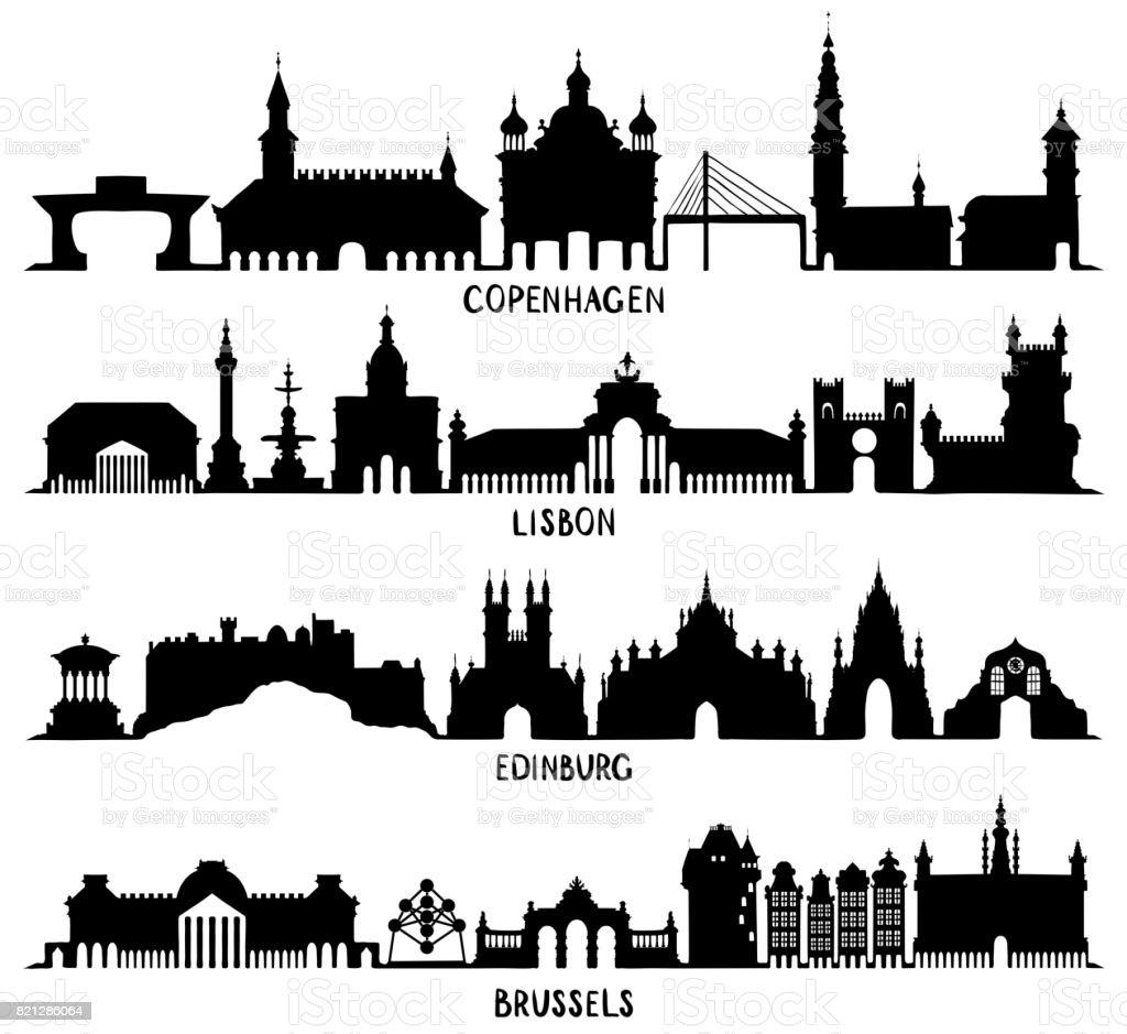 Copenhague, Lisboa, Edimburgo y Bruselas - ilustración de arte vectorial