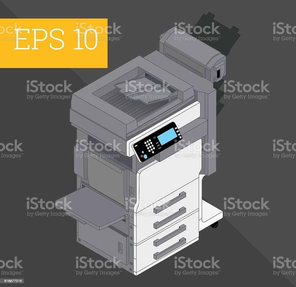 Copier printer isometric vector illustration vector art illustration