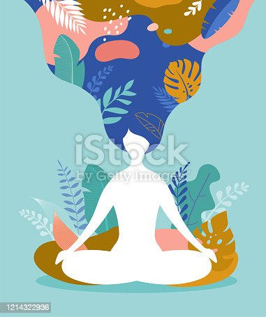 istock Coping with stress and anxiety using mindfulness, meditation and yoga. Vector background in pastel vintage colors with a woman sitting cross-legged and meditating. Vector illustration 1214322936