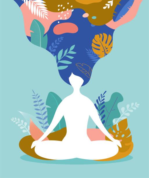 stockillustraties, clipart, cartoons en iconen met omgaan met stress en angst met behulp van mindfulness, meditatie en yoga. de achtergrond van de vector in pastel uitstekende kleuren met een vrouwenzitting cross-legged en het mediteren. vectorillustratie - boeddhisme