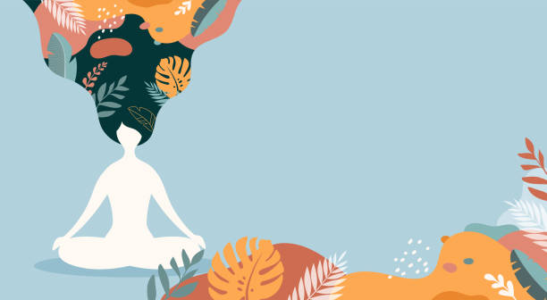 Coping with stress and anxiety using mindfulness, meditation and yoga. Vector background in pastel vintage colors with a woman sitting cross-legged and meditating. Vector illustration vector art illustration