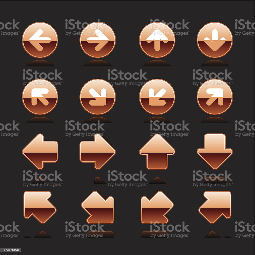 Copper arrow sign white pictogram direction icon navigation button royalty-free copper arrow sign white pictogram direction icon navigation button stock vector art & more images of application form