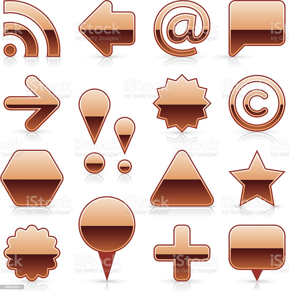 Copper blank button empty glossy icon web internet shape royalty-free stock vector art